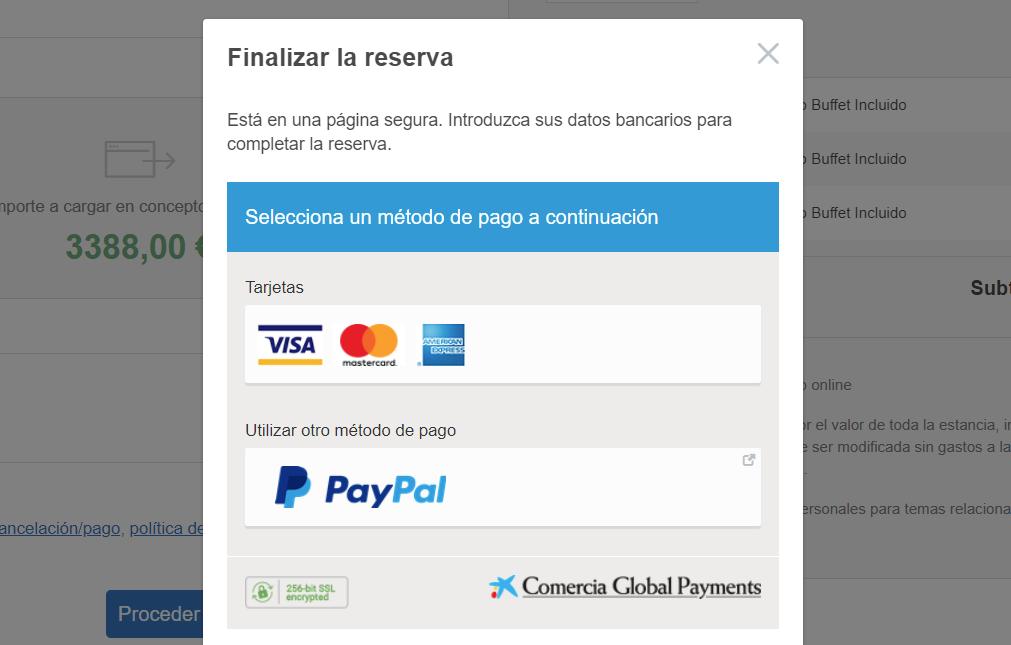 Proceso pago integrado en el proceso de reservas