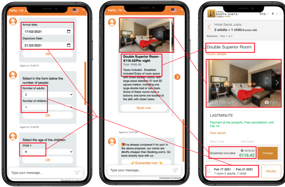 asksuite chatbot integrated with Mirai's Booking Engine