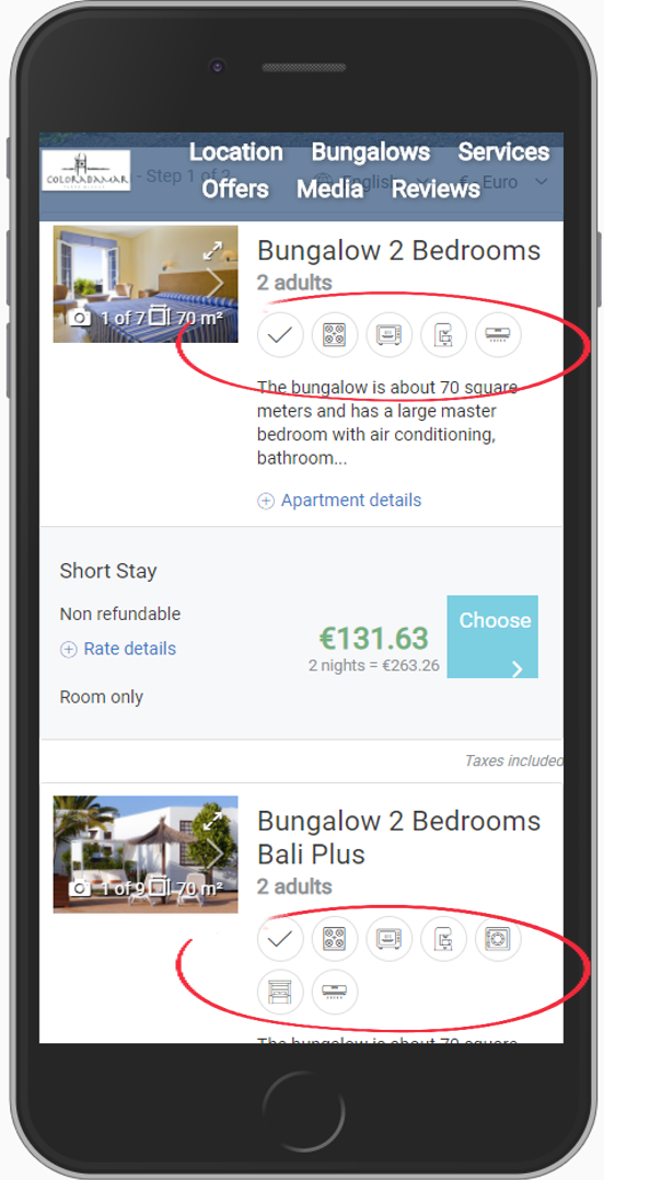 icons in the booking engine EN2