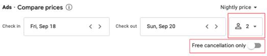 Filters affect in google hotel ads Mirai