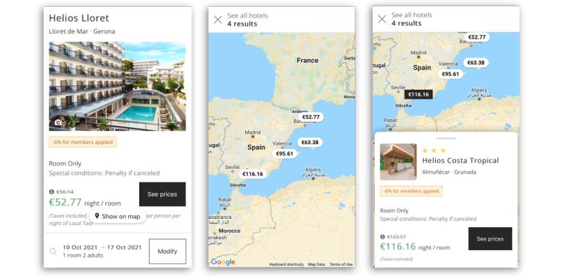 mobile desktop Mirai searches destination