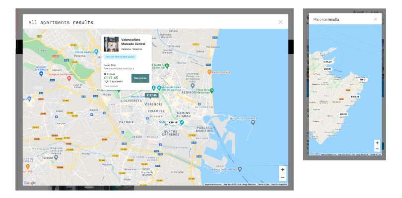 map view Mirai searches destination