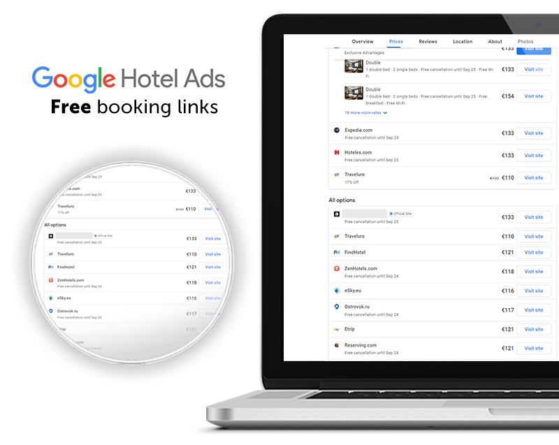 google hotel ads free booking links selon Mirai