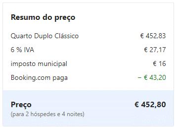resumo do preço Booking Mirai