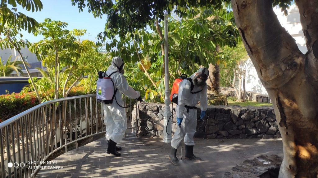 Disinfecting our Hotels in Tenerife