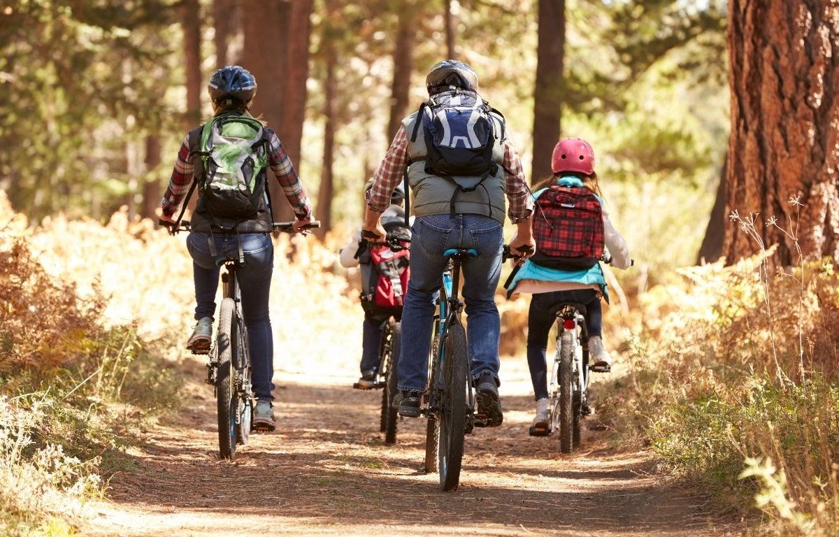 family enjoying a cycling activity